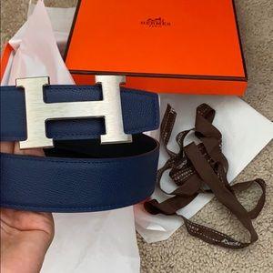 H Strie belt buckle&Reversible navy
